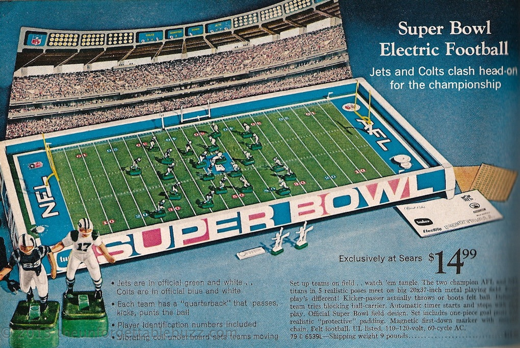 Electric football NFL AFL Super Bowl III 1969 Tudor Norman Sas Unforgettable Buzz