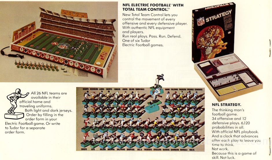 Tudor 1973 NFL Rule Book Electric Football