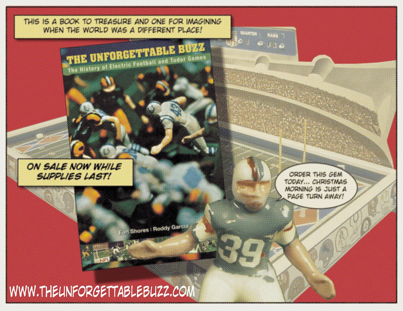 The Unforgettable Buzz Electric Football Book Comic Ad