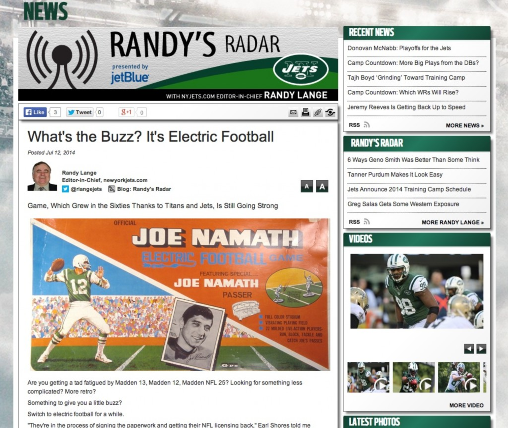 The New York Jets web page and The Unforgettable Buzz