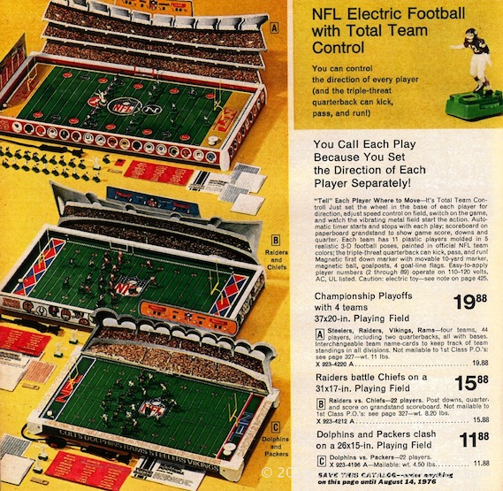 Tudor NFL Championship No. 655 in the 1975 JC Penney Christmas catalog.