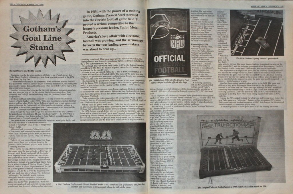 1996 Toy Shop Electric Football Article