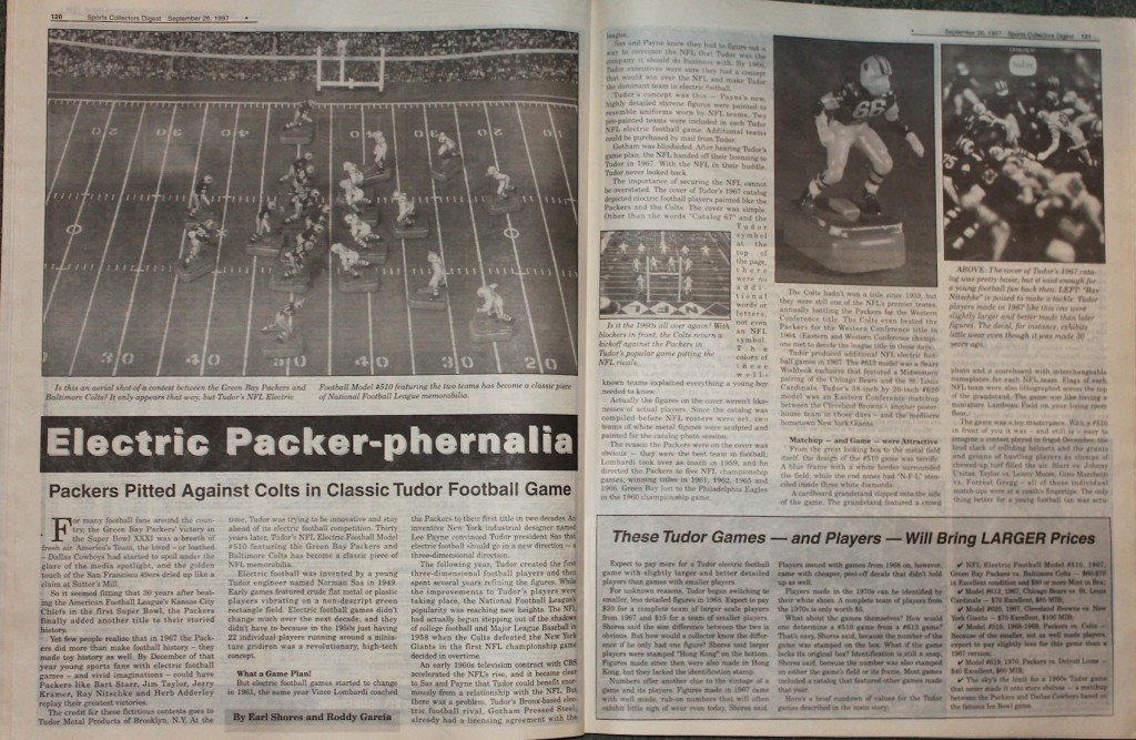 1997 Electric Football article from Toy Shop