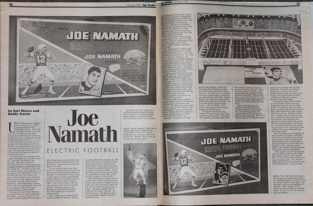 1999 Toy Trader Joe Namath Electric Football Article
