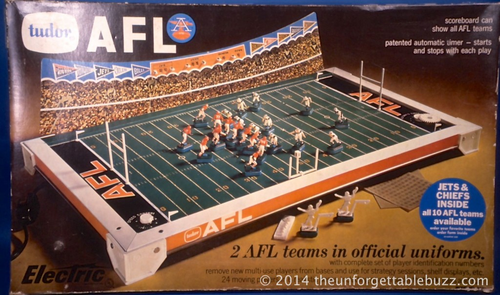 The box of a 1968 Tudor AFL No. 520 Electric Football Game