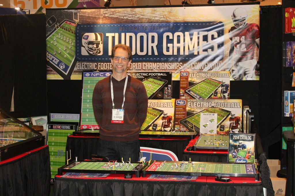 Unforgettable Buzz author Earl Shores in the Tudor Games booth at Toy Fair 2014.