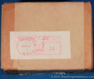 Postmark on the back of the box.