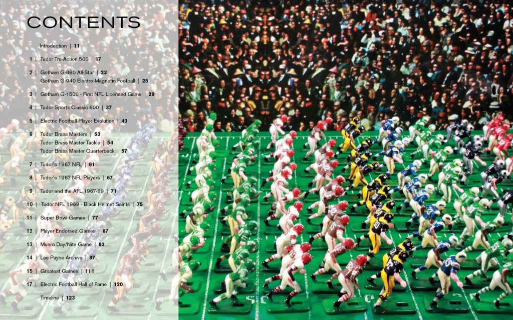 The Table of Contents from our upcoming Full Color Electric Football™book.